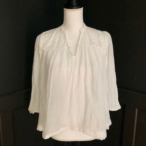 Denim & Supply Lightweight Blouse w/ Lace Detail